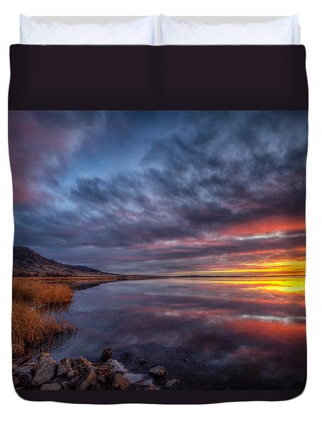 Bear Butte Lake Sunrise Duvet Cover