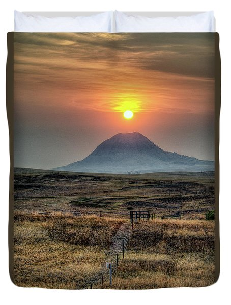 Bear Butte Smoke Duvet Cover