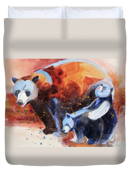 Bear Family Outing Duvet Cover by Kathy Braud