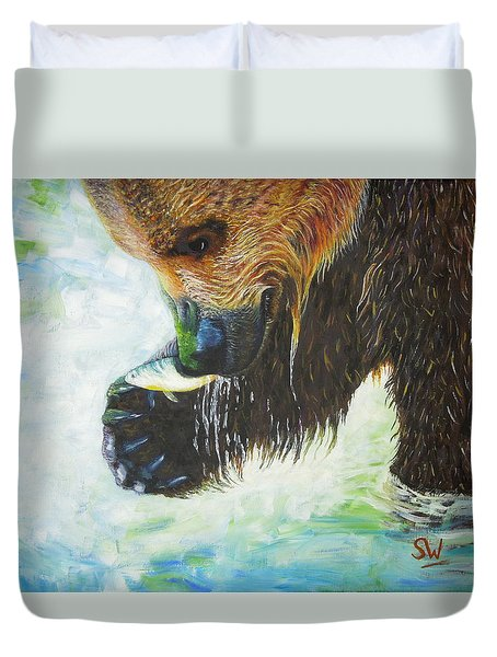 Bear Fishing Duvet Cover