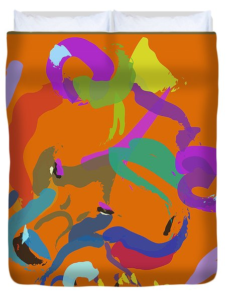 Duvet Cover featuring the painting Bear  by Go Van Kampen