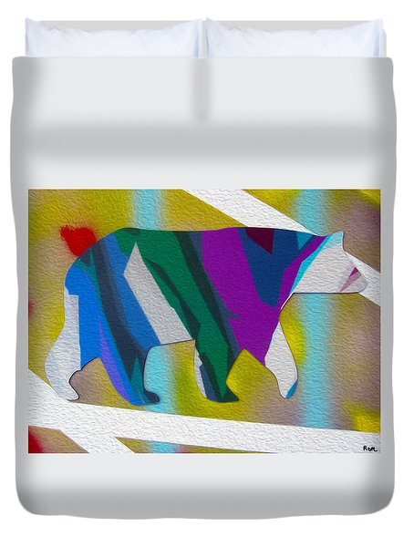 Duvet Cover featuring the painting Bear Heading My Way by Robert Margetts
