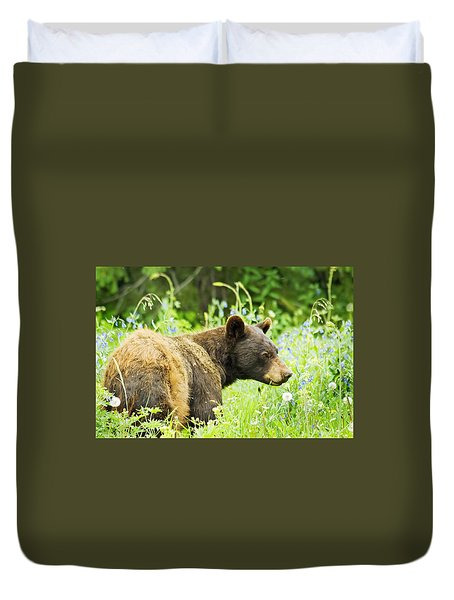 Bear In Flowers Duvet Cover