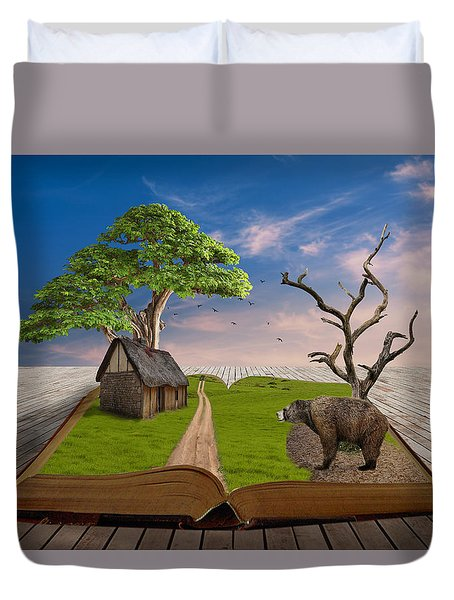 Duvet Cover featuring the mixed media Bear In Mind by Marvin Blaine