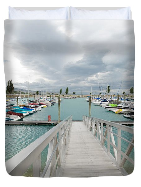 Bear Lake Marina Duvet Cover