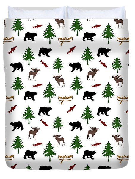 Duvet Cover featuring the mixed media Bear Moose Pattern by Christina Rollo