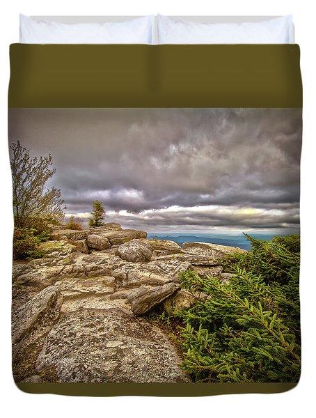 Bear Rocks Storm Duvet Cover