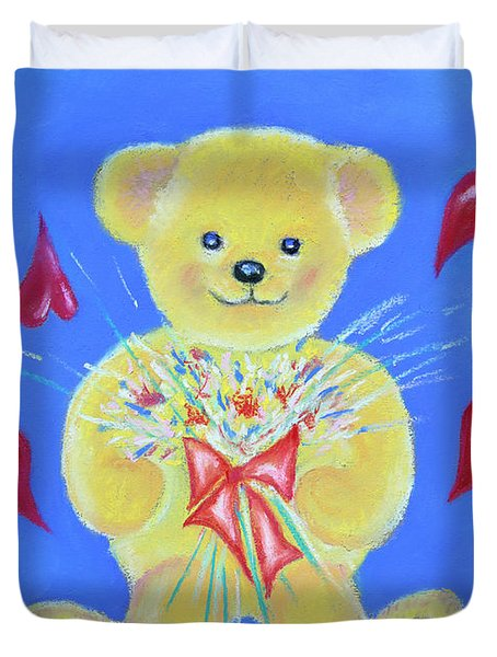 Bear With Flowers Duvet Cover