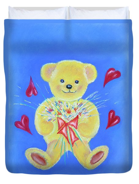 Bear With Flowers Duvet Cover by Elizabeth Lock
