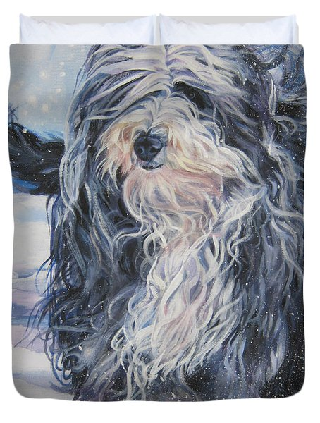 Bearded Collie In Snow Duvet Cover by Lee Ann Shepard