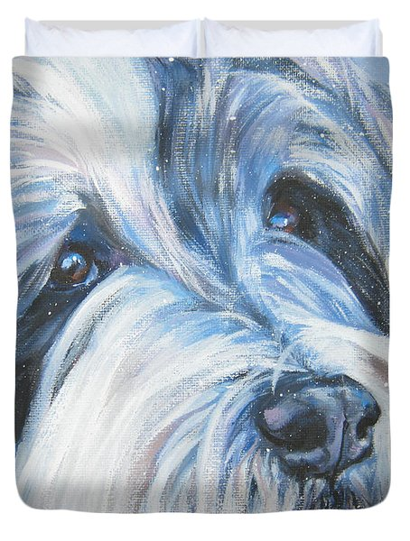 Bearded Collie Up Close In Snow Duvet Cover by Lee Ann Shepard