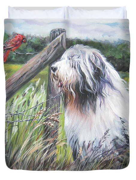 Bearded Collie With Cardinal Duvet Cover by Lee Ann Shepard