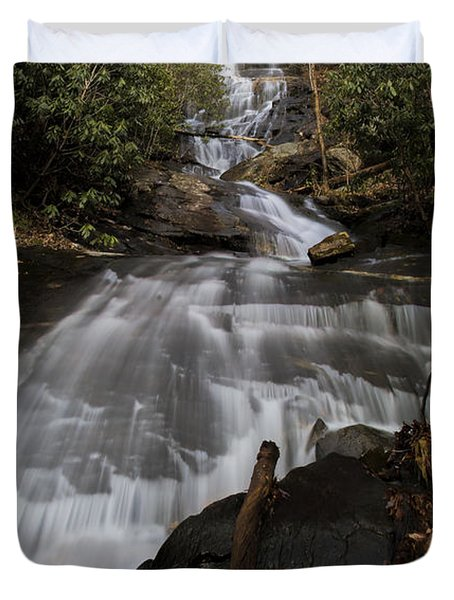 Duvet Cover featuring the photograph Bearden Falls Vertical by Barbara Bowen