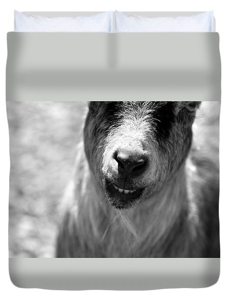Duvet Cover featuring the photograph Beardy Smiley by Angela Rath