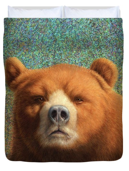 Duvet Cover featuring the painting Bearish by James W Johnson