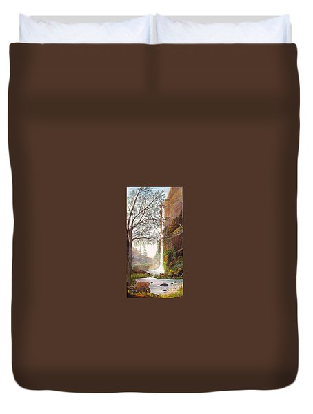 Duvet Cover featuring the painting Bears At Waterfall by Myrna Walsh