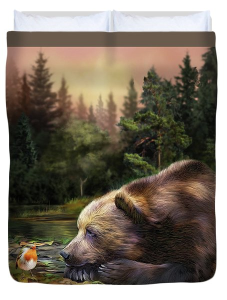 Duvet Cover featuring the mixed media Bear's Eye View by Carol Cavalaris