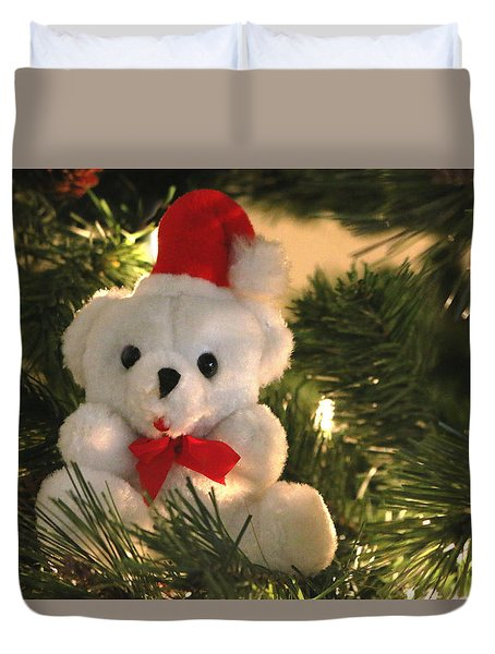 Duvet Cover featuring the photograph Beary Christmas by Living Color Photography Lorraine Lynch