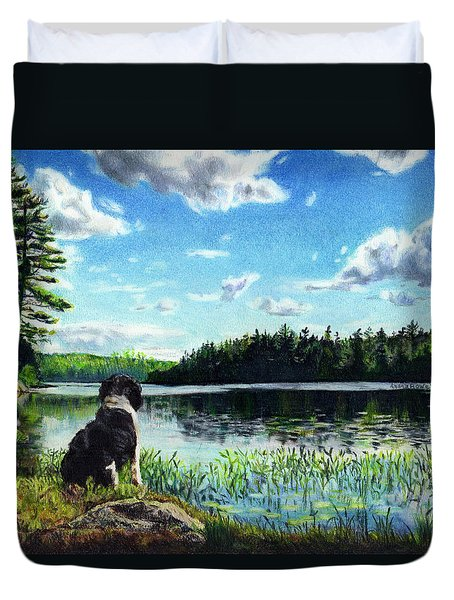 Beasley On Black Pond Duvet Cover by Shana Rowe Jackson