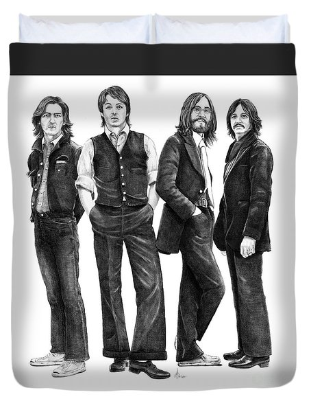 Beatles Drawing Duvet Cover by Murphy Elliott
