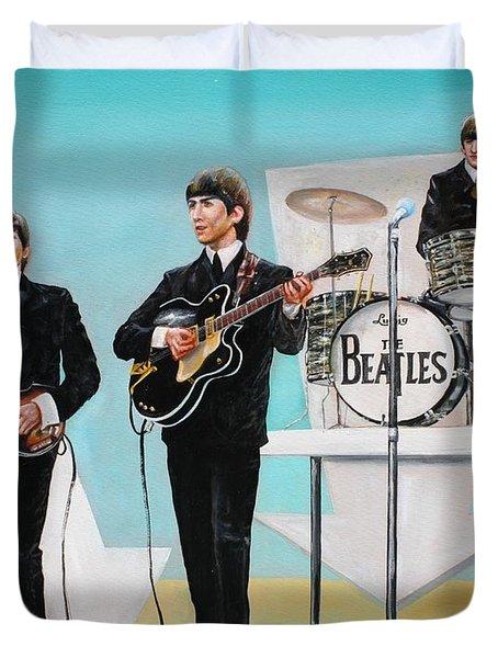 Beatles On Ed Sullivan Duvet Cover by Leland Castro