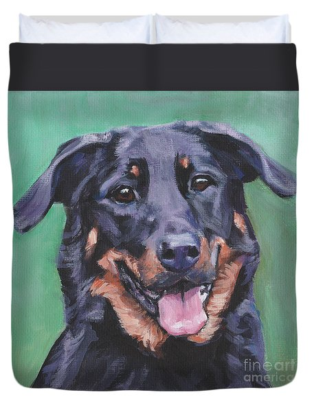Duvet Cover featuring the painting Beauceron Portrait by Lee Ann Shepard