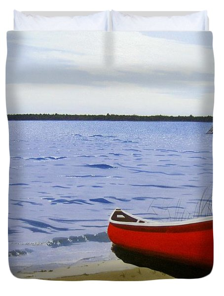 Beaultiful Red Canoe Duvet Cover