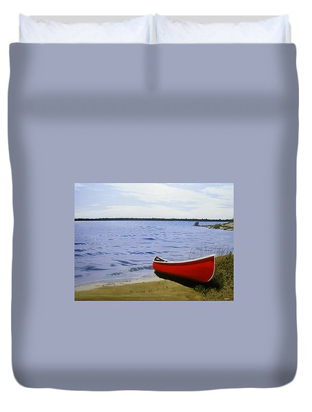Beautiful Red Canoe Duvet Cover