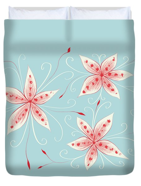 Beautiful Abstract White Red Flowers Duvet Cover