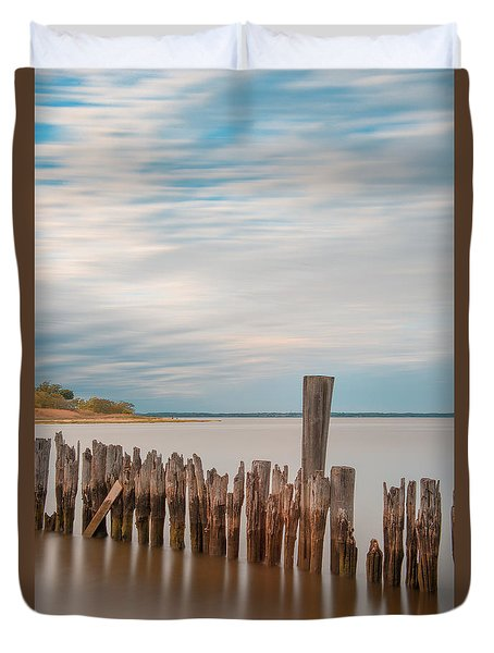 Duvet Cover featuring the photograph Beautiful Aging Pilings In Keyport by Gary Slawsky