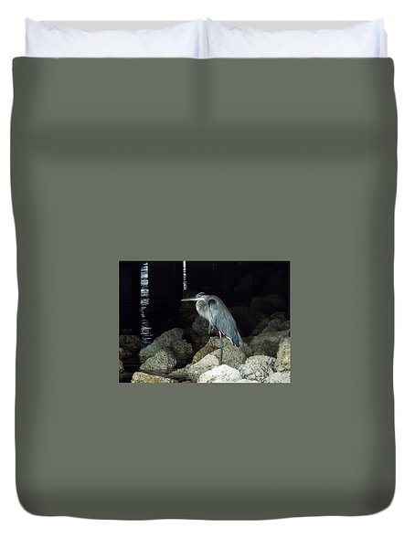 Beautiful And Patience Heron Duvet Cover