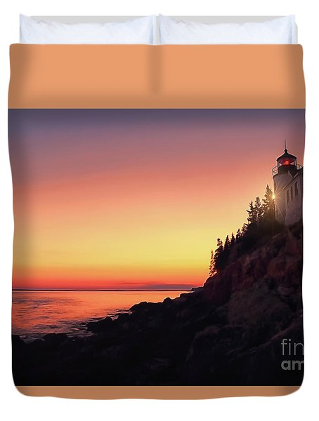 Beautiful Bass Harbor Lighthouse Duvet Cover
