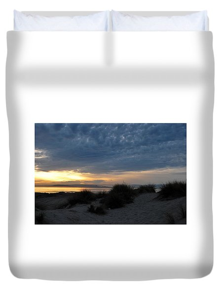 Beautiful Beach San Dunes Sunset And Clouds Duvet Cover