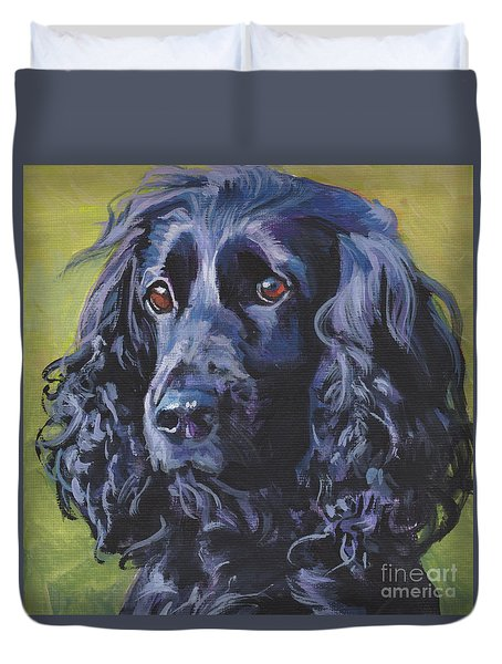 Duvet Cover featuring the painting Beautiful Black English Cocker Spaniel by Lee Ann Shepard