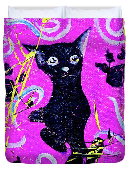 Duvet Cover featuring the mixed media Beautiful Black Pussy by eVol i