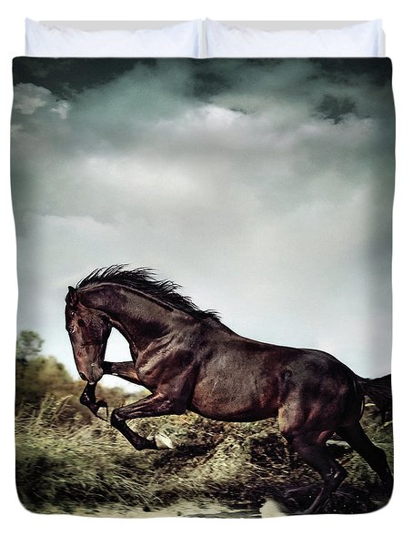 Beautiful Black Stallion Horse Running On The Stormy Sky Duvet Cover