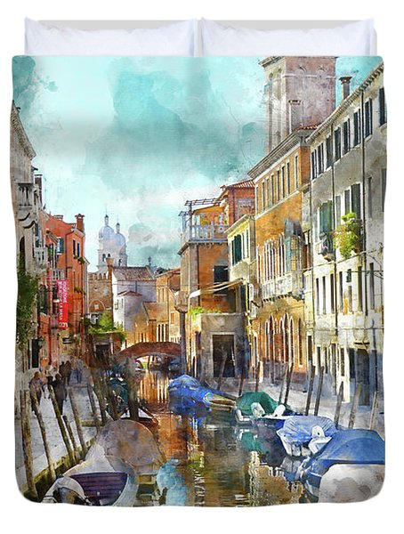 Beautiful Boats In Venice, Italy Duvet Cover