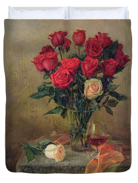 Beautiful Bouquet Of Roses Duvet Cover