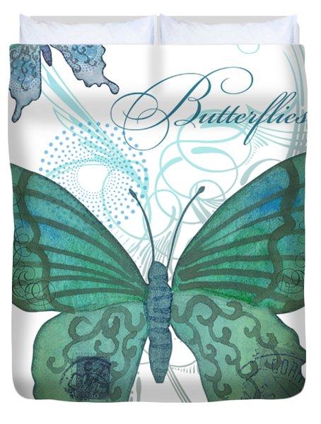 Beautiful Butterflies N Swirls Modern Style Duvet Cover