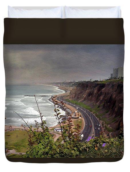 Beautiful Coastline Of Lima Duvet Cover