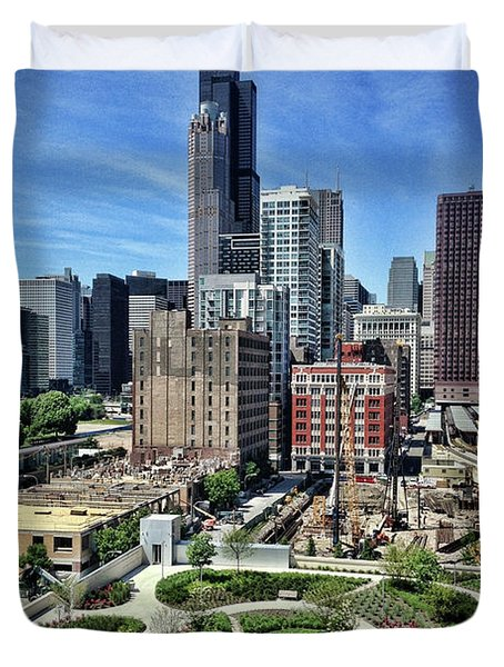 beautiful day and view of Chicago Duvet Cover