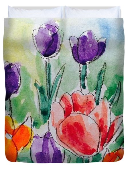 Beautiful Day For Tulips Duvet Cover