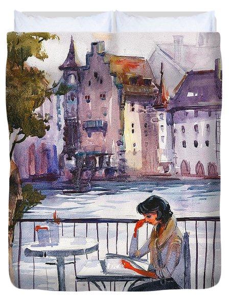 Beautiful Day, Reading Duvet Cover by Kristina Vardazaryan