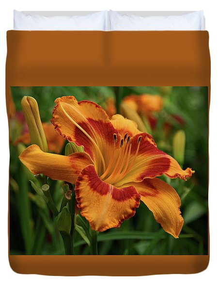 Duvet Cover featuring the photograph Beautiful Daylily by Sandy Keeton