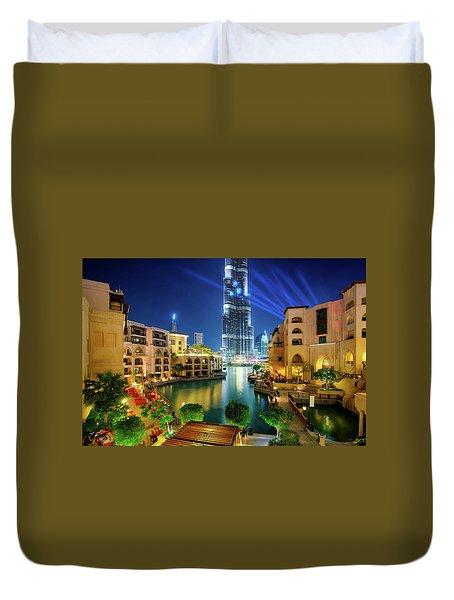 Beautiful Downtown Area In Dubai At Night, Dubai, United Arab Emirates Duvet Cover