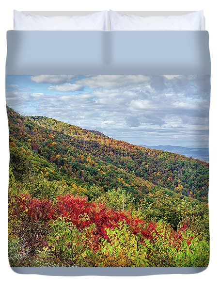 Duvet Cover featuring the photograph Beautiful Fall Foliage In The Blue Ridge Mountains by Lori Coleman