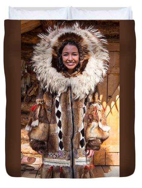 Beautiful Fashioned Coat With Wolverine Hood. Duvet Cover by Allan Levin