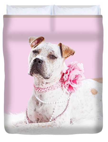 Beautiful Female Pit Bull Dog In Pink Duvet Cover