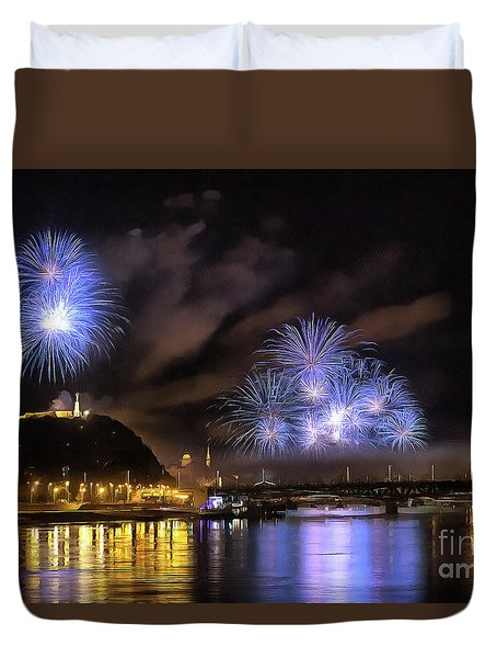 Beautiful Fireworks In Budapest Hungary Duvet Cover