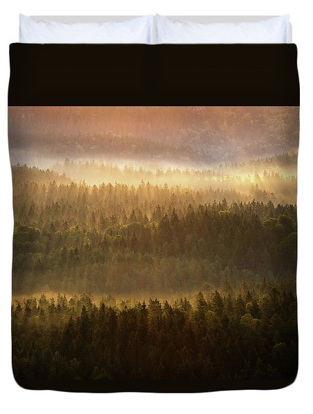 Beautiful Foggy Forest During Autumn Sunrise, Saxon Switzerland, Germany Duvet Cover